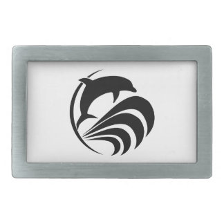 Black Silhouette Dolphin Jumping in Ocean Waves Rectangular Belt Buckle