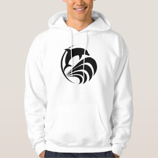 Black Silhouette Dolphin Jumping in Waves Hoodie