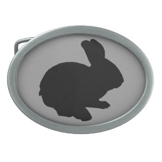 Black Silhouette Easter Bunny Belt Buckle