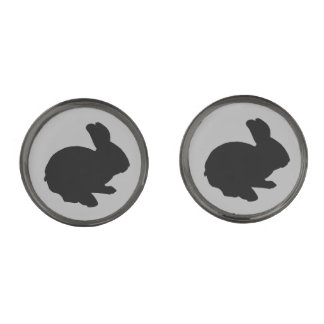 Black Silhouette Easter Bunny Cufflinks