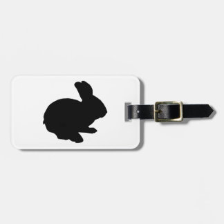 Black Silhouette Easter Bunny Luggage Tag