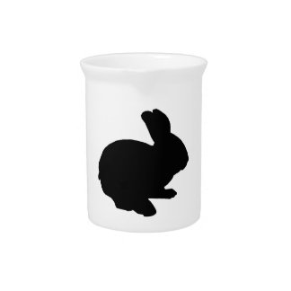 Black Silhouette Easter Bunny Pitcher