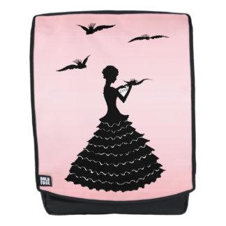Black Silhouette Lady Reading Love Letter Doves Backpack