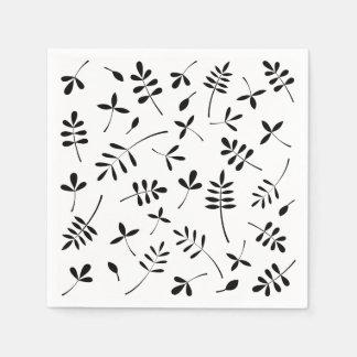 Black Silhouette Leaves Design Disposable Napkin
