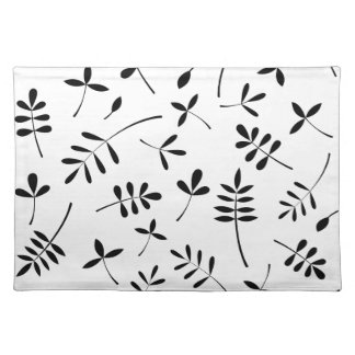 Black Silhouette Leaves Design Placemat