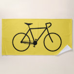[ Thumbnail: Black Silhouette of a Bicycle Beach Towel ]