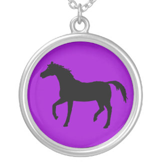 Black Silhouette of a horse. Round Pendant Necklace
