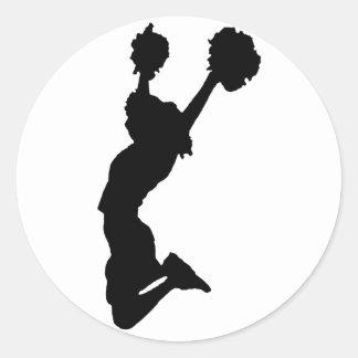 Black Silhouette of Cheerleader Classic Round Sticker