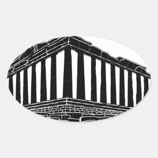 Black silhouette of Parthenon Oval Sticker