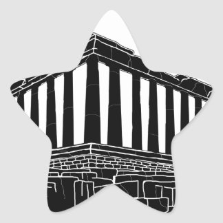 Black silhouette of Parthenon Star Sticker