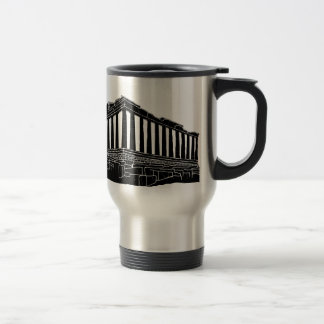Black silhouette of Parthenon Travel Mug