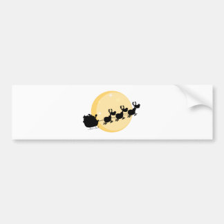 Black Silhouette Of Santa And A Reindeers Flying Bumper Sticker