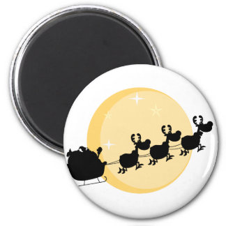 Black Silhouette Of Santa And A Reindeers Flying Magnet