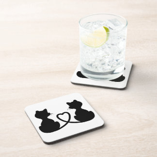 Black Silhouette Of Two Cats In Love Coaster