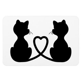 Black Silhouette Of Two Cats In Love Magnet