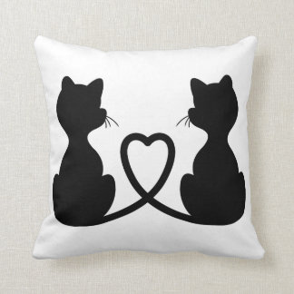 Black Silhouette Of Two Cats In Love Pillow