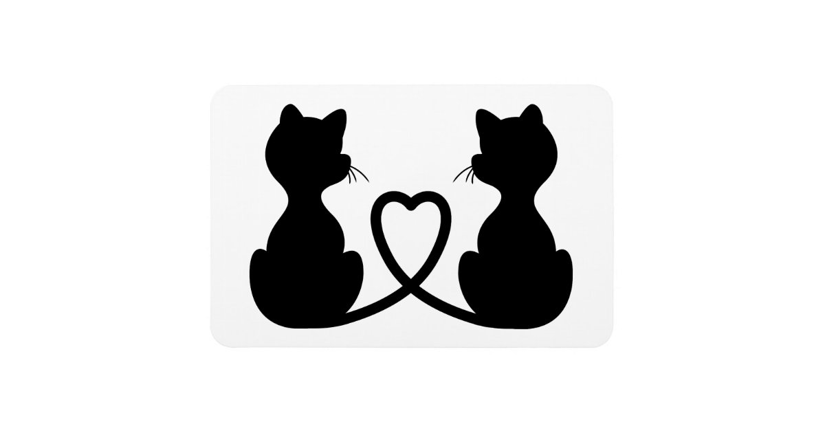 Black Silhouette Of Two Cats In Love Rectangular Photo ...