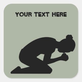 Black Silhouette of Woman Kneeling in Prayer Square Sticker