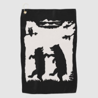 Black Silhouette on White Two Dancing Bears Owl Golf Towel