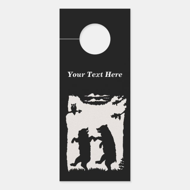Black Silhouette Pair of Dancing Bears Trees Owl