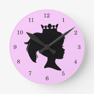 Black Silhouette Princess T-shirts and Gifts Round Clock