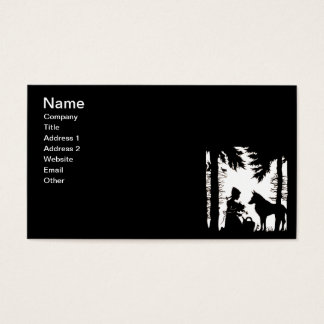 Black Silhouette Red Riding Hood Wolf Woods Business Card