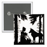 Black Silhouette Red Riding Hood Wolf Woods 2 Inch Square Button