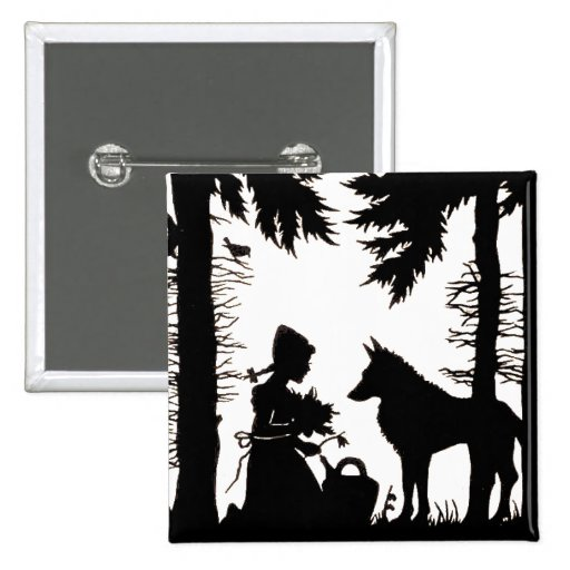 Black Silhouette Red Riding Hood Wolf Woods Button