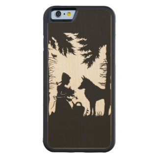 Black Silhouette Red Riding Hood Wolf Woods Carved Maple iPhone 6 Bumper Case