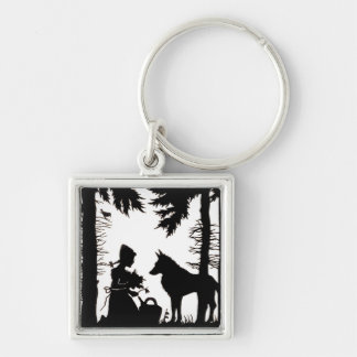 Black Silhouette Red Riding Hood Wolf Woods Key Chain