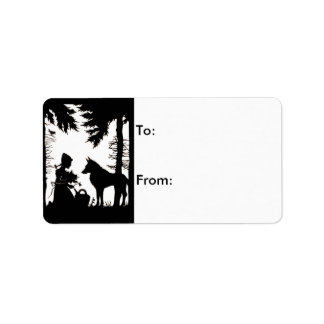Black Silhouette Red Riding Hood Wolf Woods Label