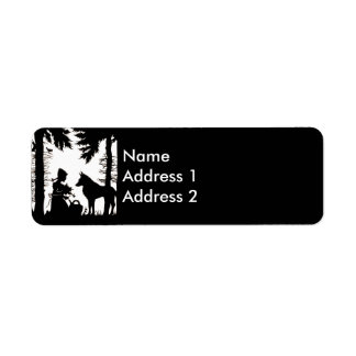 Black Silhouette Red Riding Hood Wolf Woods Return Address Labels