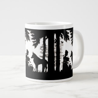 Black Silhouette Red Riding Hood Wolf Woods Large Coffee Mug