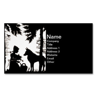 Black Silhouette Red Riding Hood Wolf Woods Magnetic Business Card