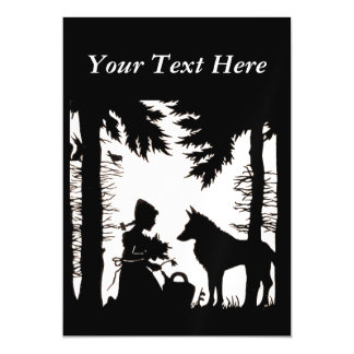 Black Silhouette Red Riding Hood Wolf Woods Magnetic Card