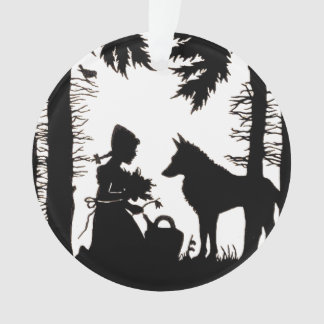 Black Silhouette Red Riding Hood Wolf Woods Ornament