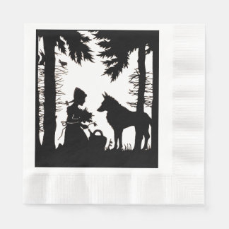 Black Silhouette Red Riding Hood Wolf Woods Coined Luncheon Napkin