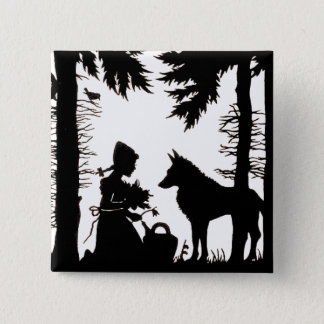 Black Silhouette Red Riding Hood Wolf Woods Pinback Button