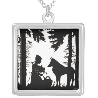 Black Silhouette Red Riding Hood Wolf Woods Silver Plated Necklace