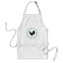 Black Silhouette Rooster Green Wreath Apron
