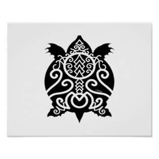 Black Silhouette Snapper Turtle Poster