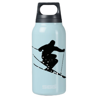 Black Silhouette Snow Skier Personalized Insulated Water Bottle