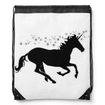 Black silhouette unicorn drawstring bag