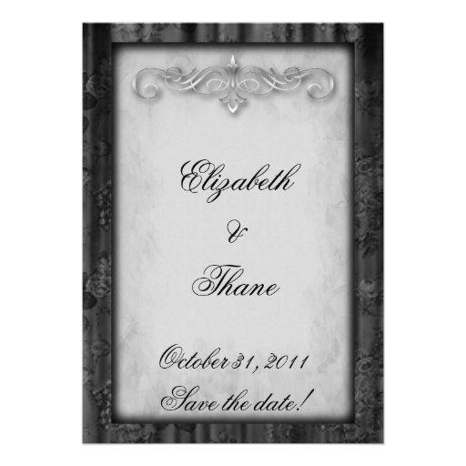 Black Silk and Parchment Goth Wedding Custom Invitation