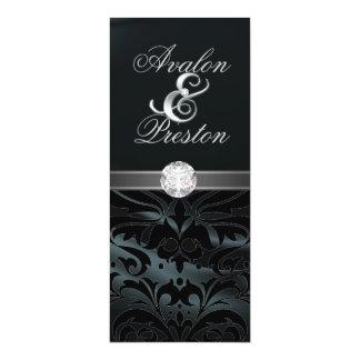 "Black Silk Diamond Black Damask Wedding Invitation 4"" X 9.25"" Invitation Card"