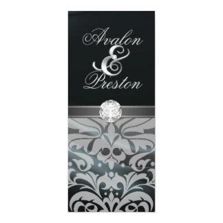 "Black Silk Diamond Damask Wedding Invitation 4"" X 9.25"" Invitation Card"