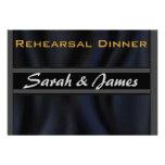 Black Silk wedding rehearsal Personalised Invitations