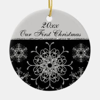 Black, Silver 1st Christmas Keepsake Ornament