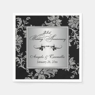 Black, Silver 25th Wedding Anniversary Napkins