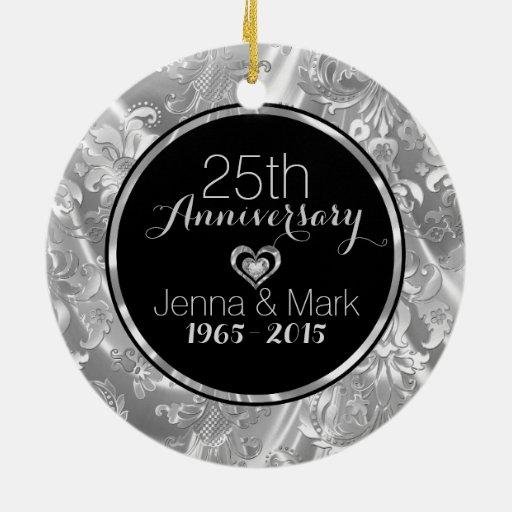 Black Silver 25th Wedding Anniversary Ornament Zazzle